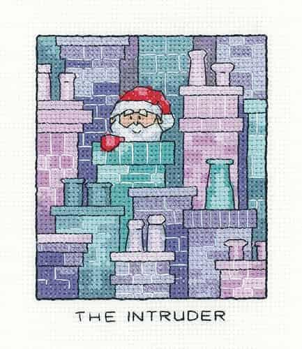 Heritage Crafts Cross Stitch Kit - The Intruder, Santa, Christmas