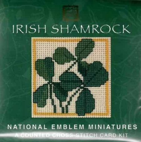 Textile Heritage Cross Stitch Kit - Card - Irish Shamrock - Made in Scotland