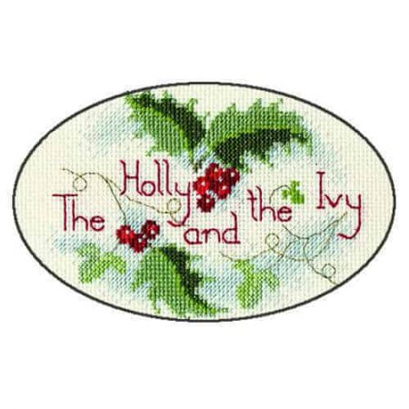 Derwentwater Designs Cross Stitch Kit - Christmas Card, Holly and the Ivy