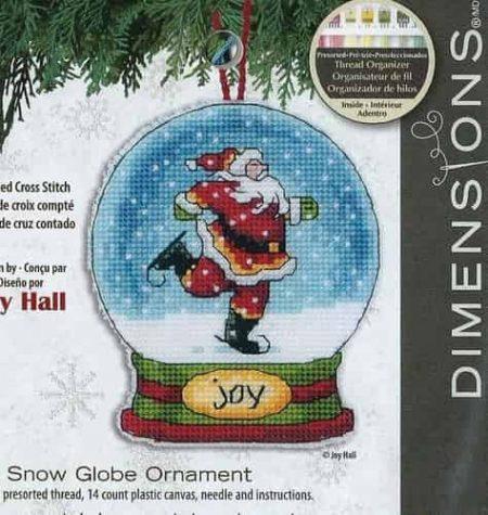 Dimensions Cross Stitch Kit - Snow Globe Christmas Tree Ornament, Joy