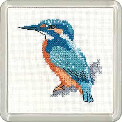 Heritage Crafts Little Friends Coaster Cross Stitch Kit - Kingfisher, Bird