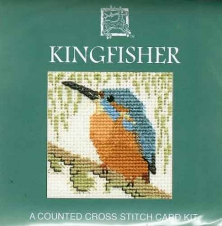 Textile Heritage Cross Stitch Kit - Card - Kingfisher - Made in Scotland