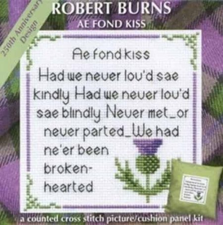 Textile Heritage Cross Stitch Kit - Picture or Cushion Panel Robert Burns Ae Fond Kiss