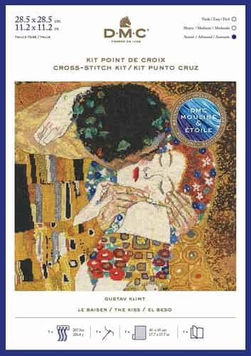 DMC Cross Stitch Kit - Gustav Klimt - The Kiss BK1811