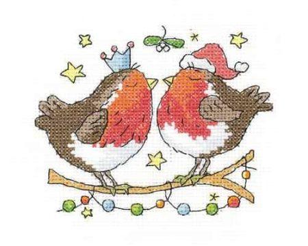 Heritage Crafts Cross Stitch Kit - Christmas Kiss, Robin