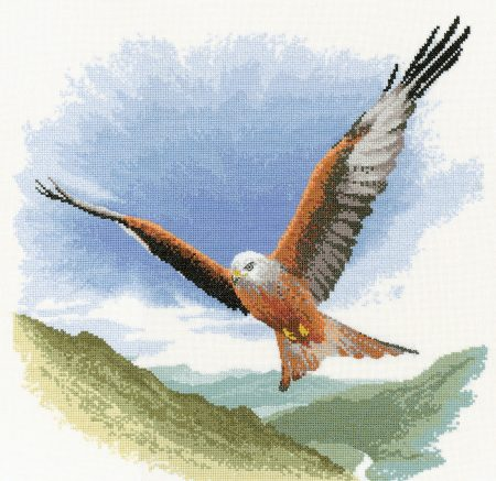 Heritage Crafts Cross Stitch Kit - Red Kite in Flight 14 count aida