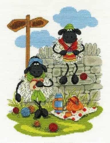 DMC Cross Stitch Kit - Shabby Sheep, Lunching and Knitting BK1568