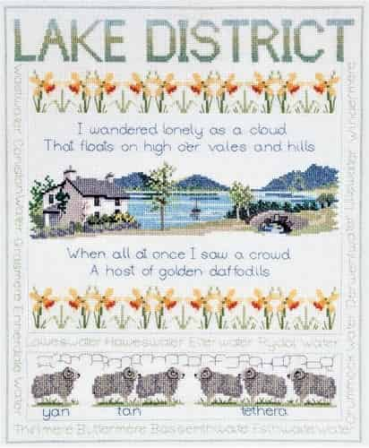 Derwentwater Designs Cross Stitch Kit - Lake District Sampler, Wordsworth