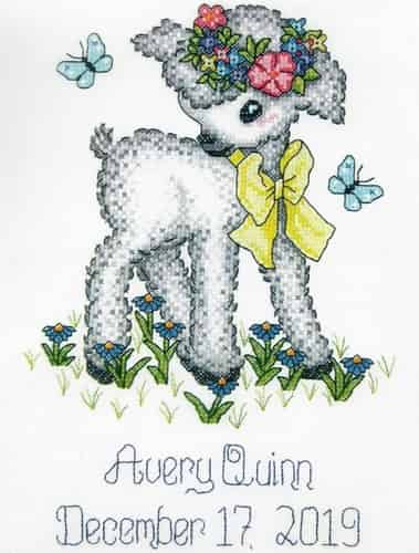Janlynn Stamped Cross Stitch Kit - Vintage Lamb Birth Announcement