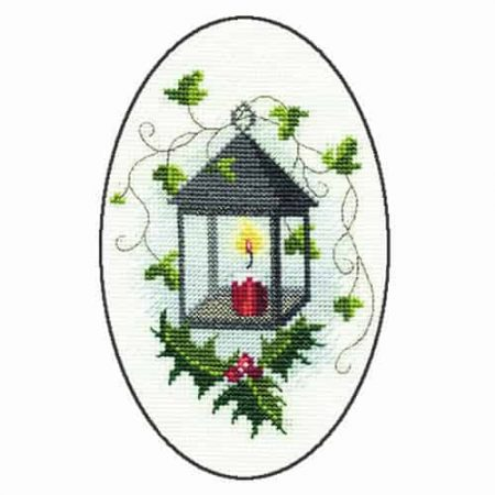 Derwentwater Designs Cross Stitch Kit - Christmas Card, Lantern