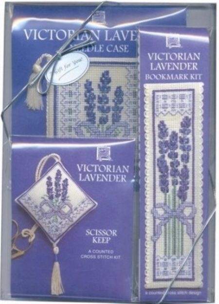 Textile Heritage Cross Stitch Kit - Gift Pack - Victorian Lavender - Needlecase, Bookmark, Scissor Keep