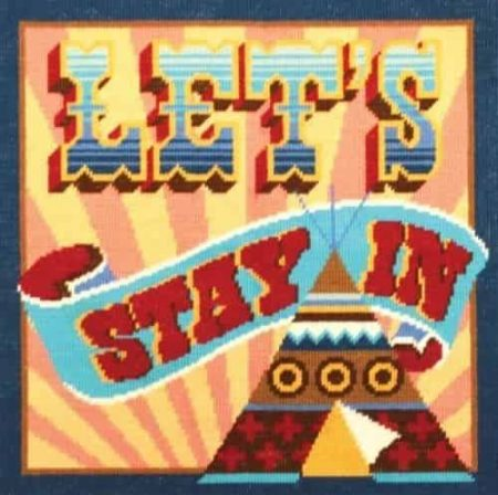 DMC Printed Cushion Front Tapestry Kit - Homespun Slogan - Let's Stay In