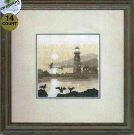 Heritage Crafts Cross Stitch Kit - Silhouettes, Guiding Light, Lighthouse