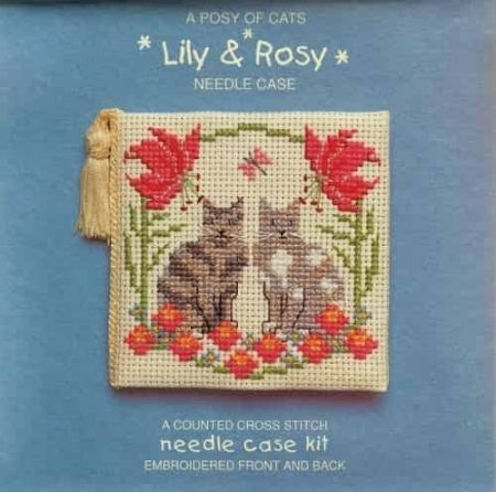 Textile Heritage Cross Stitch Kit - Lily & Rosy Cats Needlecase - Made in Scotland