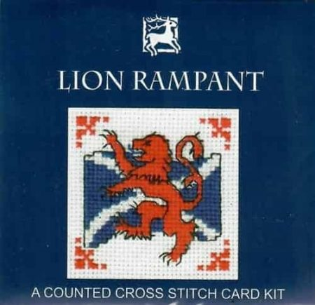 Textile Heritage Cross Stitch Kit - Card - Lion Rampant - Made in Scotland