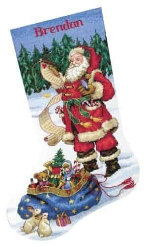 Dimensions Cross Stitch Kit - Checking His List Stocking, Christmas