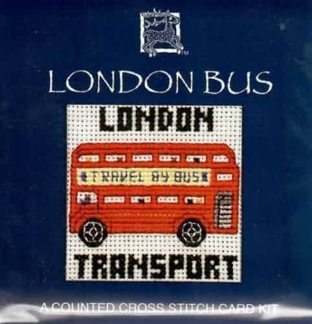 Textile Heritage Cross Stitch Kit - Card - London Bus - Made in Scotland