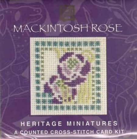 Textile Heritage Cross Stitch Kit - Card - Mackintosh Rose - Made in Scotland