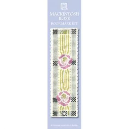Textile Heritage Cross Stitch Kit - Bookmark - Mackintosh Rose - Made in Scotland