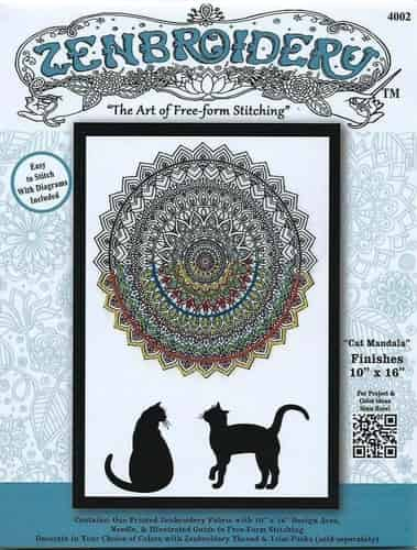 Design Works Zenbroidery Cat Mandala Fabric Pack, Embroidery