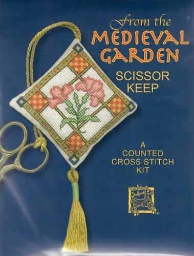 Textile Heritage Cross Stitch Kit - Scissor Keep - Medieval Garden