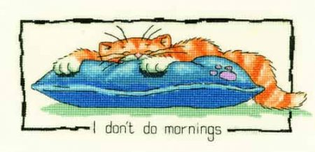 Heritage Crafts Cross Stitch Kit - I Don't Do Mornings, Cat