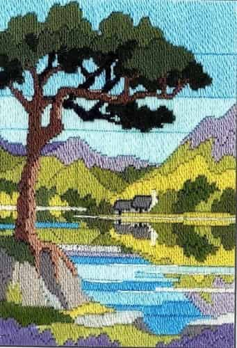 Derwentwater Designs Long Stitch Kit - Seasons, Mountain Summer, Tree, Lake