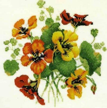 Heritage Crafts Cross Stitch Kit - Nasturtium Posy, Flowers