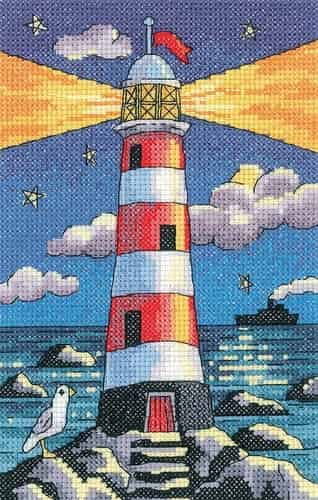 Heritage Crafts Cross Stitch Kit - Lighthouse by Night