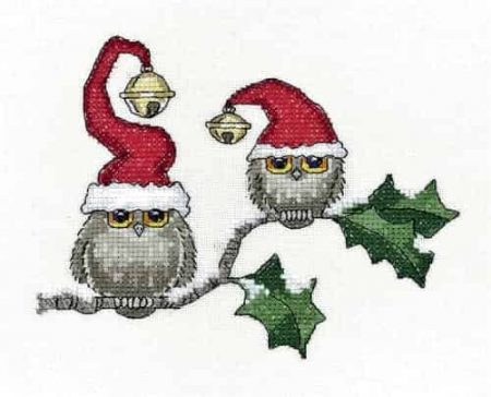Heritage Crafts Cross Stitch Kit - Christmas - Ollie and Ivy, Owl 14ct