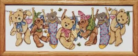 Design Works Cross Stitch Kit - On the Line Teddys, Teddies