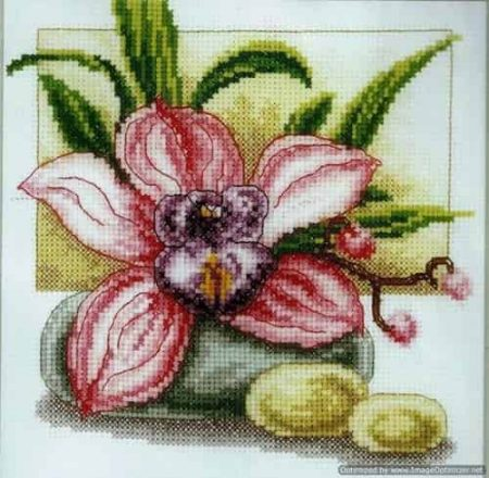Vervaco Cross Stitch Kit - Pink Orchid, Flowers