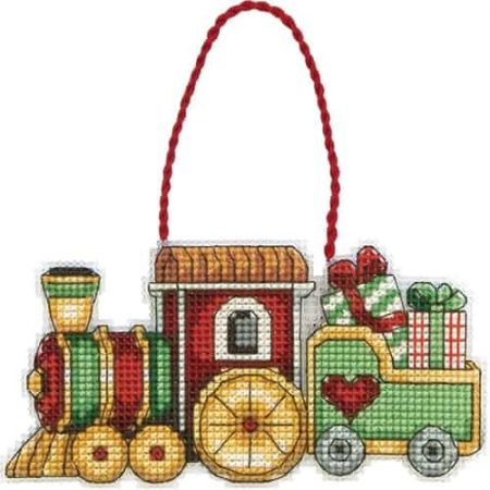 Dimensions Cross Stitch Kit Toy Train Christmas Ornament
