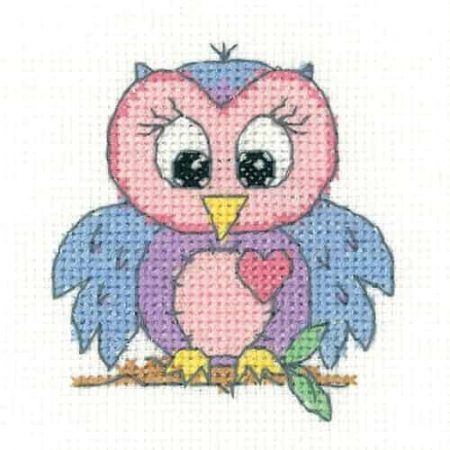 Heritage Crafts Cross Stitch Kit - Owl - Juniors, Beginners