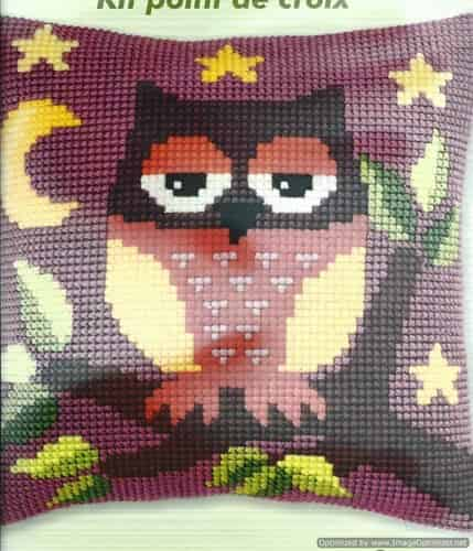 Orchidea Cross Stitch Cushion Front Kit - Owl On a Branch
