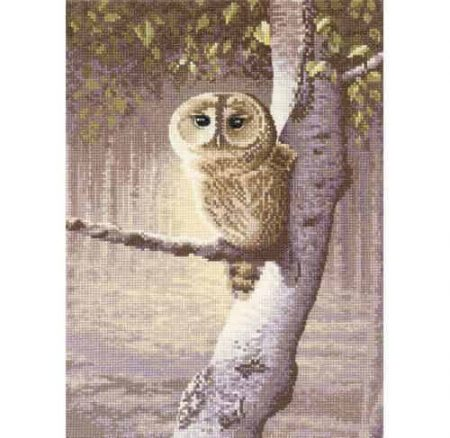 Heritage Crafts Cross Stitch Kit - Night Watchman, Owl