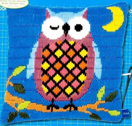 Vervaco Long Stitch Kit - Owl at Night Cushion Front
