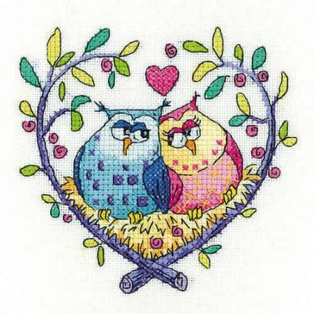 Heritage Crafts Cross Stitch Kit - Love Owls