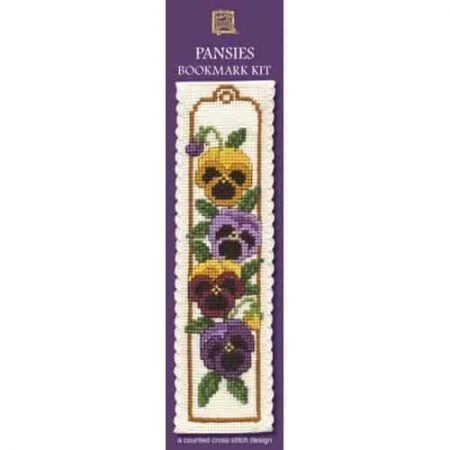 Textile Heritage Cross Stitch Kit - Bookmark - Pansies - Made in Scotland
