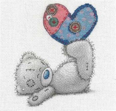 DMC Cross Stitch Kit - Me To You - Tatty Teddy - Patchwork Heart BL1141/72