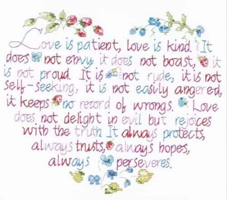 Janlynn Stamped Cross Stitch Kit - Love is Patient