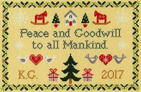 Bothy Threads Cross Stitch Kit - Peace and Goodwill, Christmas XX11