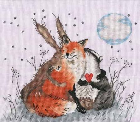 Bothy Threads Cross Stitch Kit - Love Country Peace & Huggles  Hare, Fox, Badger