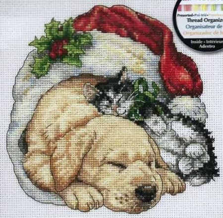 Dimensions Gold Petites Cross Stitch Kit - Christmas Morning Pets