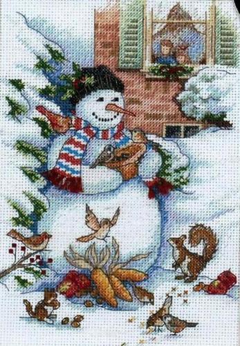 Dimensions Gold Petites Cross Stitch Kit - Christmas, Snowman & Friends