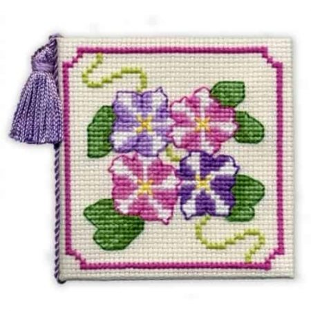 Textile Heritage Cross Stitch Kit - Petunias Needlecase - Made in Scotland