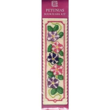 Textile Heritage Cross Stitch Kit - Bookmark - Petunias - Made in Scotland