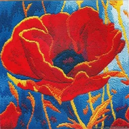 Derwentwater Designs Long Stitch Kit - Poppy Head, Flower