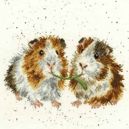 Bothy Threads Cross Stitch Kit - Lettuce be Friends, Guinea Pigs XHD19