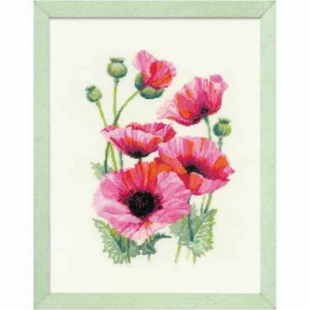 Riolis Cross Stitch Kit - Pink Poppies 1775